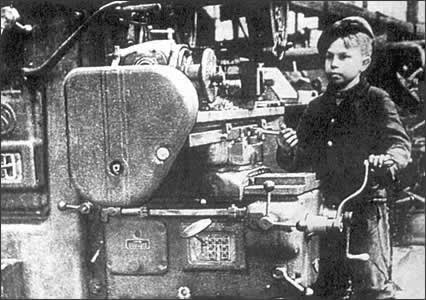 These boys operated machines and produced aircraft motors